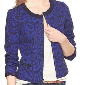 Gap Blue Leopard Print Blazer Jacket Sz 0